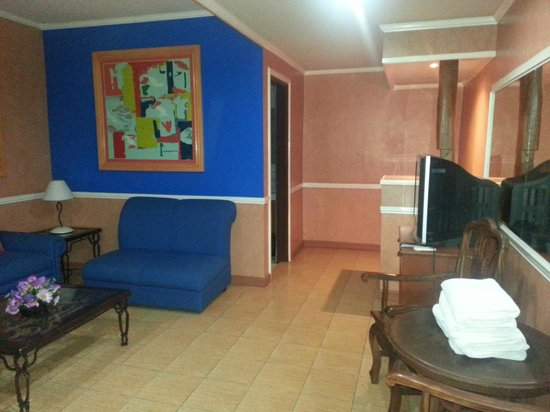 "La Maja Rica Hotel: receiving area with bathroom and ""kitchen"" area, personal ref behind the counter"