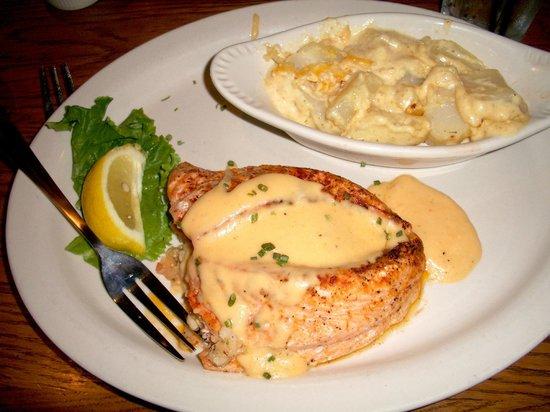Lucky's Steak House : Shrimp and Crab stuffed Salmon (special); Potatoes au Gratin