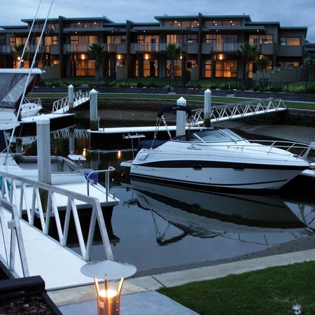 Sovereign Pier on the waterways: Boat berths looking towards Villas