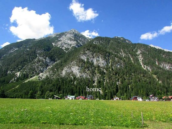View from afar, the Pension Wetterstein is at lower center