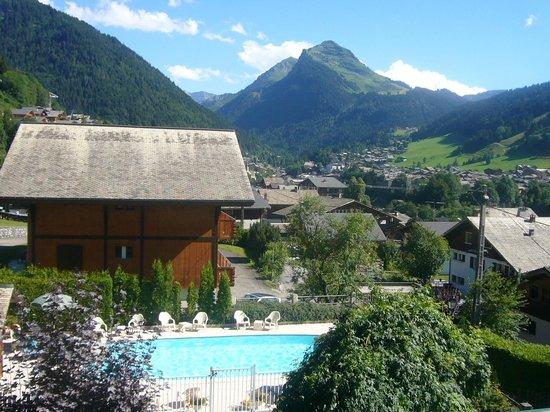 Hotel l'Ours Blanc : La piscine vue de la chambre