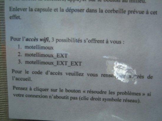 Motel Limoux : Tre linee wifi? Conta solo la prima, che non giunge in stanza