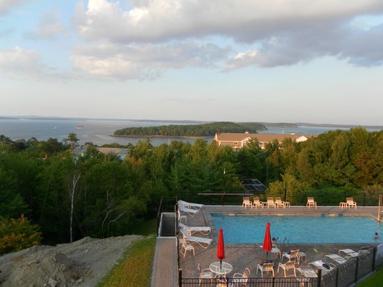 Atlantic Eyrie Lodge: view from room of pool & harbor
