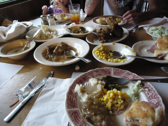 Dan'l Boone Inn Restaurant: This is after we had all started digging in! So much food!