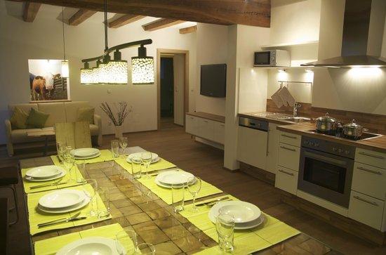 Landhaus und Residenz zur Hackenschmiede: Küche und Wohnraum im **** Apartment Morgenrot für bis zu 8 Personen