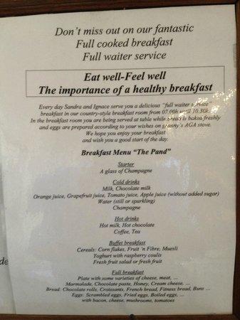 Pand Hotel Small Luxury Hotel: Breakfast menu