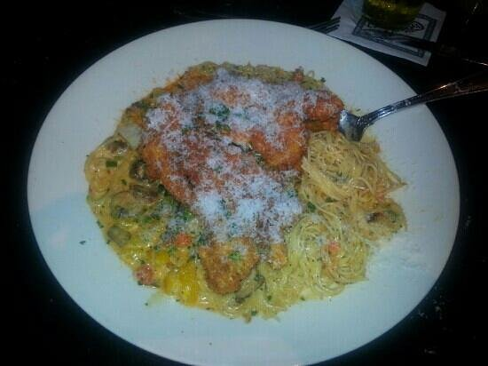 The Cheesecake Factory: New Orleans chicken pasta on anglehair rather than bowtie