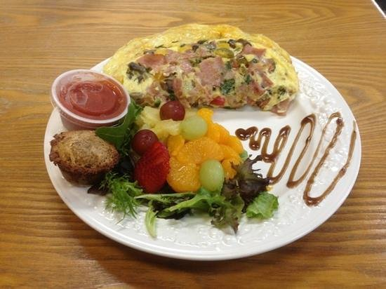 Little Brother's Bistro: southwestern omelette with fruit, salsa, muffin and balsamic swirl