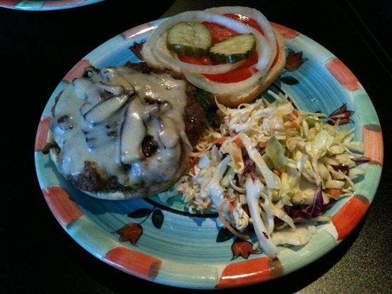 Zola Bar & Grill: Mushroom & Swiss with Asiam Slaw