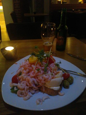 Scandic Arvika: Shrimp sandwich, halfway eaten