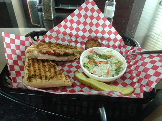 Little Brother's Bistro: Raider Club with broccoli slaw and homemade muffin