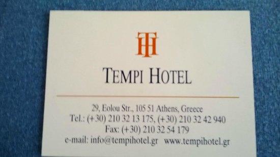 Hotel Tempi : Carte