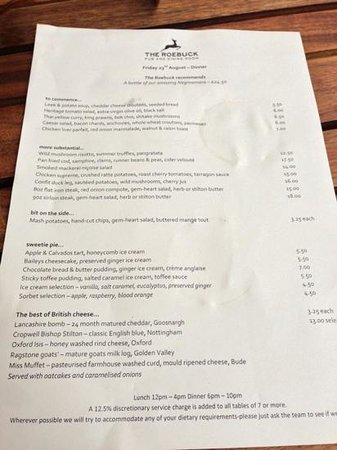 The Roebuck, Chiswick : August 2013 menu