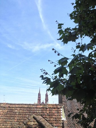 brasserie au violon: view from the Restaurant - the spires of Basel Cathedral
