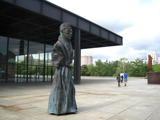 New National Gallery (Neue Nationalgalerie): Terrace, with sculpture (2006) by Thomas Schutte
