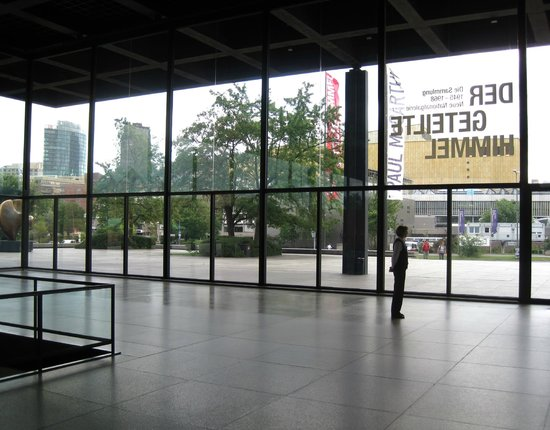 Neue Nationalgalerie: Inside the upper level, looking through the windows at the Kulturforum