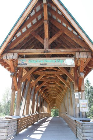 Kicking Horse Pedestrian Bridge: Huge beams hold this thing up