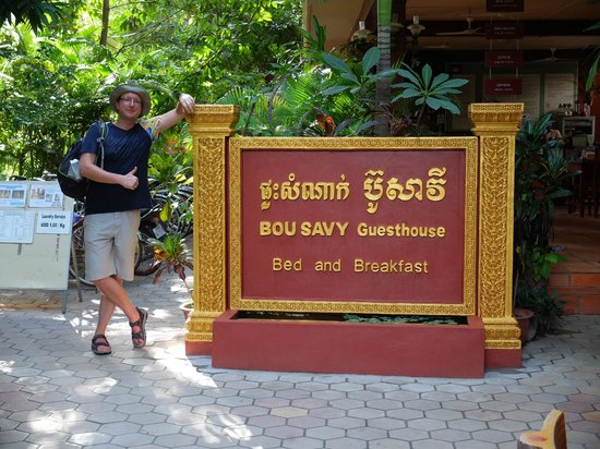 Bou Savy Guest House: Welcome sign between the main building and the restaurant.