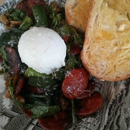 ... egg with chorizo, greens, mushrooms and parmesan, and sourdough toast