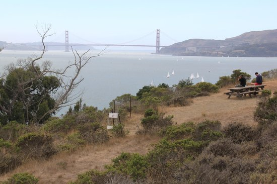Angel Island State Park: View of Golden Gate Bridge from Angel Island