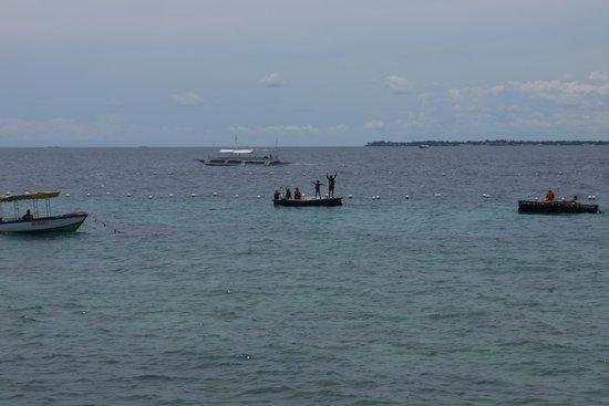 Shangri-La's Mactan Resort & Spa: 沖のプラットフォームまで泳ぐと魚が大きくなる
