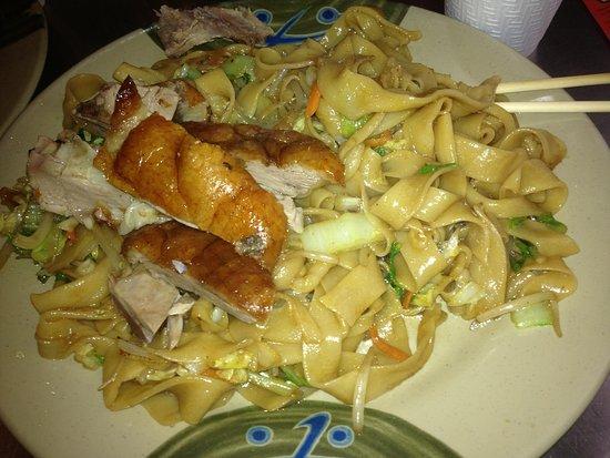 Tasty Hand Pulled Noodles : K- stir fry wide noodles with Duck