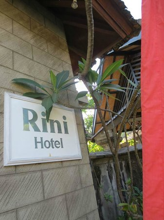 Rini Hotel: Hotel sign board..