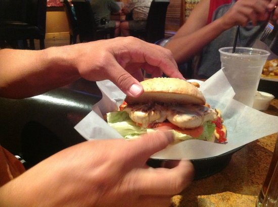 Jack's Sports Grill: Sante Fe Chicken Sandwich! 2 chicken breasts