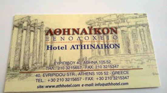 Hotel Athinaikon : Carte