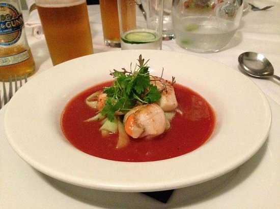 Sweet Melinda's: Scallops in gazpacho soup