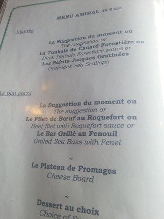 Le Blanc Nez : the  menu we had
