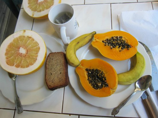 Dolphin Bay: Morning breakfast- fresh fruit from their yard and fresh baked banana break