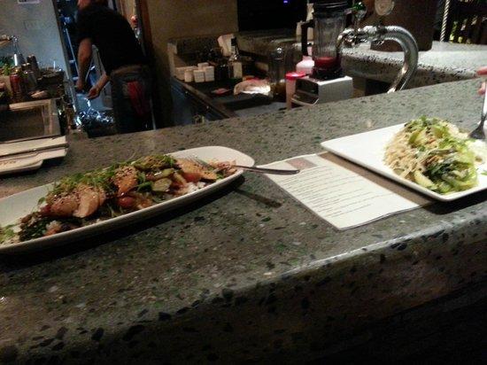 CocoMaya: teriyaki chicken on left, pad thai on right.