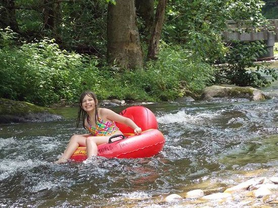 Smoky Mountain Deep Creek Gators Tubes: such a pretty smile - she is riding a 38 inch safety tube