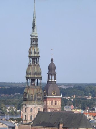 Panorama Riga Observation Deck : View of St Peter's triple spire and the Dome Cathedral from 17th floor