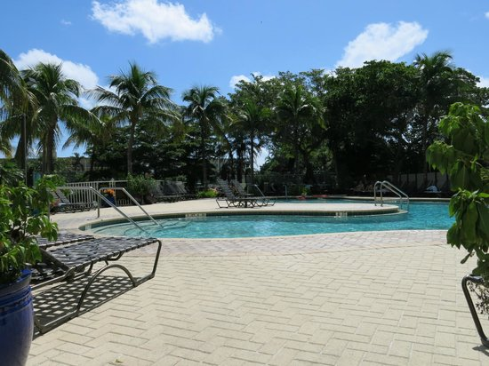 pool area with waterfall picture of pointe estero beach. Black Bedroom Furniture Sets. Home Design Ideas