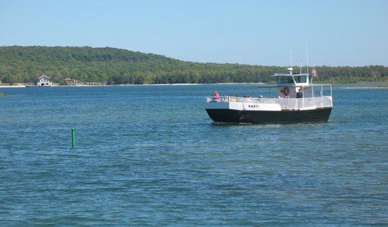 Washington Island Ferry Line: Karfi passenger ferry over to Rock Island from Jackson Harbor