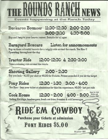 Rounds Ranch: Flyer with times for various ranch activities