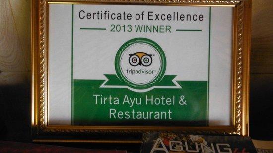 Tirta Ayu Restaurant , The Water Palace , Tirtagangga : award