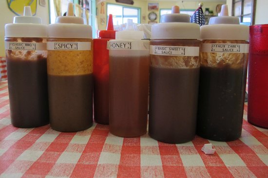 Jeremiah's BBQ Restaurant: No shortage of sauces to choose from!