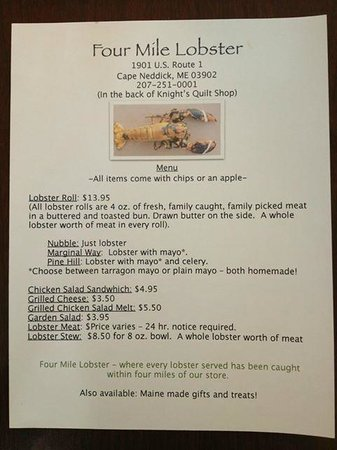 Four Mile Lobster Menu