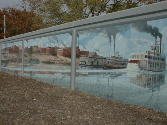 Floodwall Murals: Mural of river boat scene on Ohio
