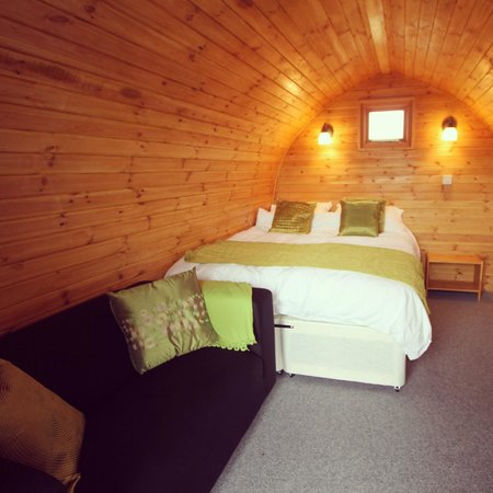 The Little Hide: Lime colour theme pod from the door