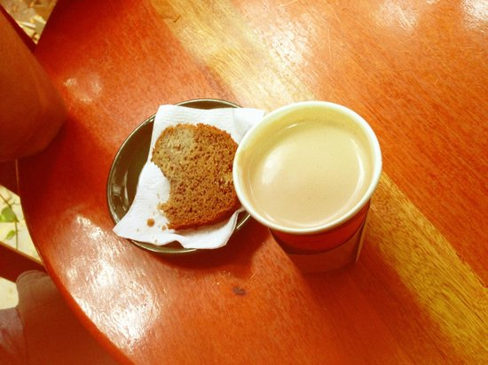 Above Grounds Coffee: Banana bread and a soya milk vanilla latte...