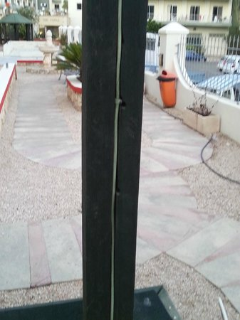 The San Anton Hotel : live cables on the childrens play equipment