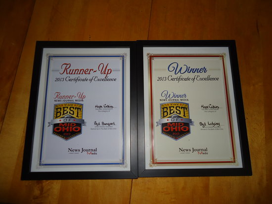 "Hope Cabins and Banquet, LLC: We won Best Lodging in Mid-Ohio"" for 2013 and ""Runner Up"" for Banquet Facility!"