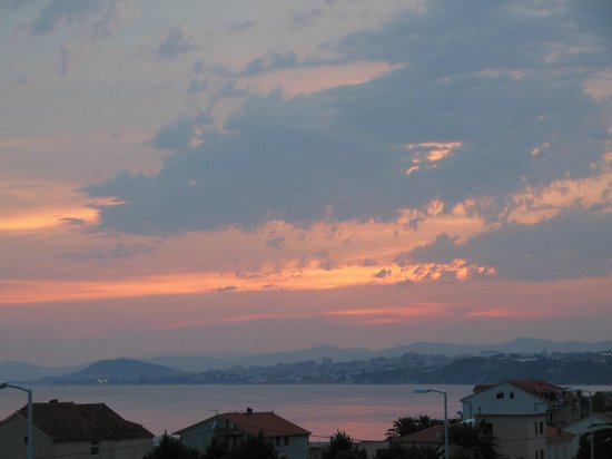 Pansion-Restaurant Amigos: sunset looking towards split from 2nd floor Apt A6