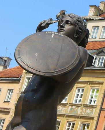 Warsaw Mermaid: Pigeon perched on the Mermaid's Saber