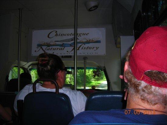 Chincoteague Natural History Association  Wildlife Tour : Inside tour bus