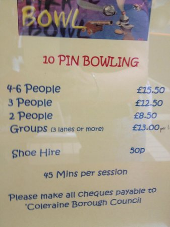 Portrush, UK: Bowling price list